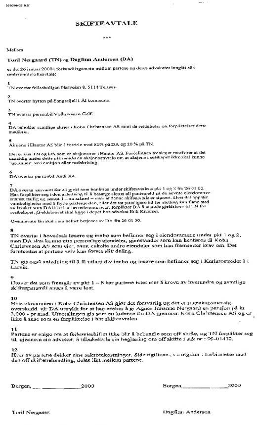 Privat skifteavtale eksempel
